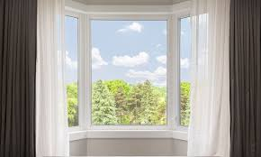 the 4 best ways to hang bay window curtains overstock com large bay window with brown and white curtains