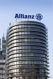 financial and insurance allianz logo on the building of the