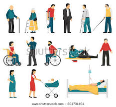 Blind And Deaf Woman Set Disabled People Including Blind Deaf Stock Vector 604731404