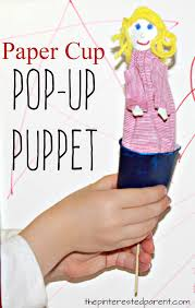 paper cup pop up puppet craft arts and craft for kids pretend