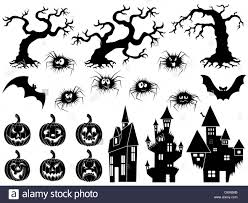 Halloween Flying Bats Set Of Different Halloween Vector Silhouettes And Stencils With