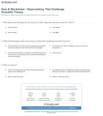 quiz u0026 worksheet observations that challenge scientific theory