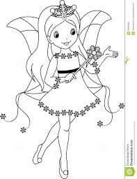 fairy winter coloring page stock vector image 42093392