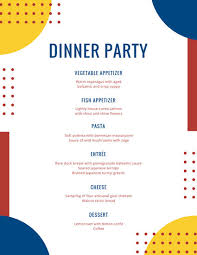 menu design for dinner party red and blue modern pop dinner menu templates by canva
