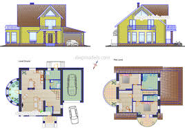 small family house plans cad drawings autocad file download