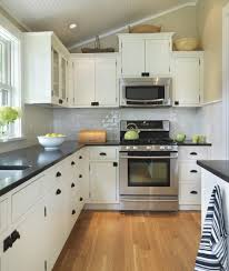 L Shaped Kitchen With Island Layout by Dark Wooden Cabinets For L Shaped Kitchen Layout Also Small