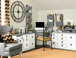 luxury home office decorating ideas with white desk and wooden