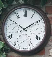 antique rust design outdoor garden wall clock u0026 thermometer