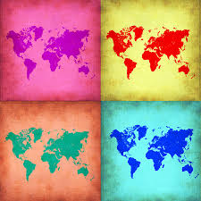 World Map Prints by Pop Art World Map 1 Painting By Naxart Studio