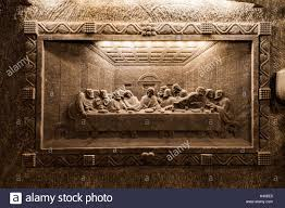 wieliczka poland april 23 one of the amazing sculptures the