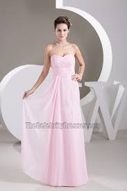 strapless sweetheart pearl pink chiffon prom gown bridesmaid