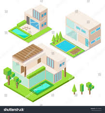 modern house isometric design vector stock vector 231410956
