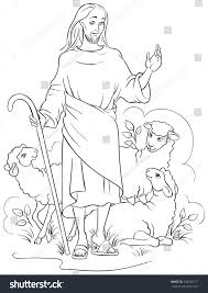 jesus good shepherd christian easter holiday stock vector