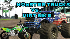 monster truck videos on youtube 4 monster trucks vs 1 dirt bike gta 5 online youtube