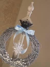 decor wreath hangers with snow ornament and bow decoration for