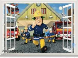 fireman sam fire engine 3d window wall decals removable stickers