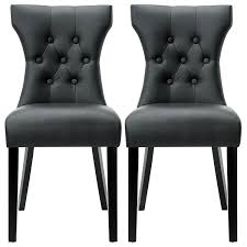 Black Dining Chairs Modway Silhouette Tufted Faux Leather Parsons Dining