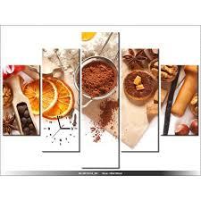 tableau de cuisine moderne 150 x105 cm orange epices cuisine horloge murale tableau