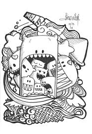doodle art print color free download