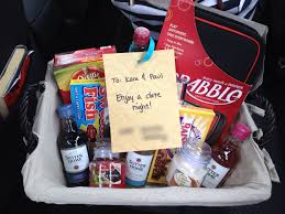date gift basket ideas date basket for a bridal shower scrabble popcorn