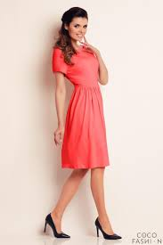 red short sleeves knee length dress