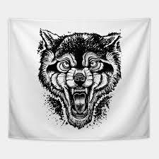 neotraditional wolf illustration wolf tapestry teepublic