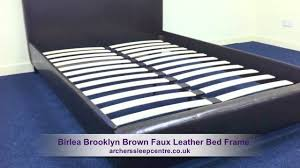 ireland king faux leather bed brown contemporar review youtube