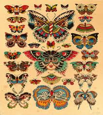 awesome colored moth butterfly tattoos designs