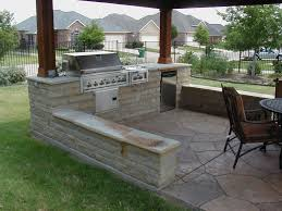exterior simple backyard patio with bricks stone floor and