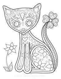 tabby cat coloring pages day of the dead coloring book cat by thaneeya printable cats