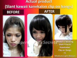 kawaii hairstyles no bangs instant clip in bangs fringe kanekalon slant kawaii bangs