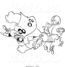 vector of a cartoon football player tackling another and knocking