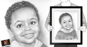 hand drawn pencil sketch from photos mydavinci com