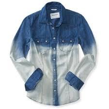 aeropostale blouses aeropostale sleeve dip dye denim shirt aéropostale polyvore