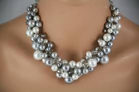 chunky jewelry necklace images Gray pewter and white bridesmaids chunky necklace wedding jpg