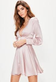 pink balloon sleeve plunge button detail dress missguided