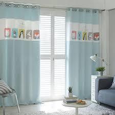 Teal Nursery Curtains Baby Blue Cartoon Patterned Cotton Kids Room Nursery Curtains