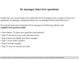 Resume Sample For Hr Manager by Hr Manager Interview Questions