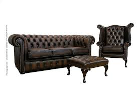 Chesterfield Leather Sofa Suite   Footstool Antique Brown - Sofa and footstool
