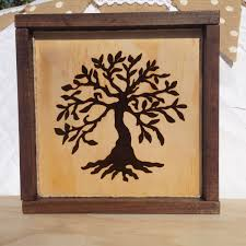 wood sign family tree of wood burning sign rustic frame