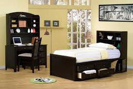 dark wood modern bedroom furniture with neutral wall paint colors