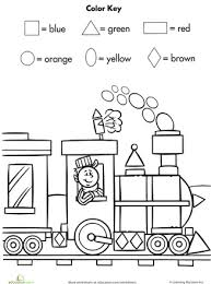 color by shape train worksheets shapes and math