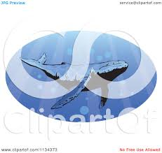 clipart of a humpback whale swimming with rays of light royalty