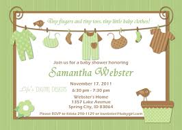baby shower invitations for boy baby clothes green and brown