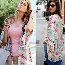 boho fashion boho chic fringe women floral print kimono hippie bliss