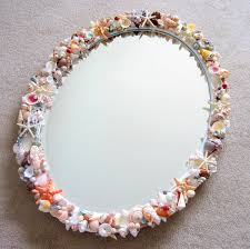 beach decor custom seashell mirror nautical decor shell