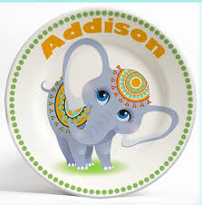 personalized dinner plate personalized girly elephant name plate for kids by randesign