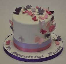 tall round purple and pink butterfly cake baby shower cakes