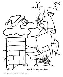christmas santa coloring santa feeds reindeer