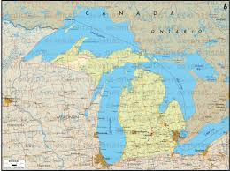 Map Of Michigan Lakes Geoatlas Us States Michigan Map City Illustrator Fully